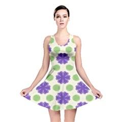 Purple Flowers Pattern        Reversible Skater Dress by LalyLauraFLM