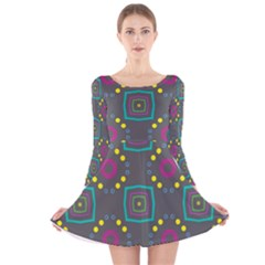 Squares And Circles Pattern Long Sleeve Velvet Skater Dress by LalyLauraFLM