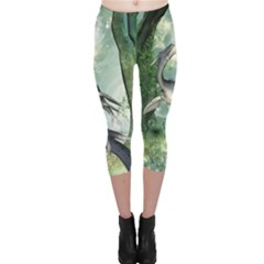 Awesome Seadraon In A Fantasy World With Bubbles Capri Leggings  by FantasyWorld7