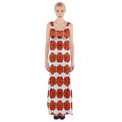 Red Rose Print Maxi Thigh Split Dress by dflcprintsclothing