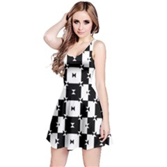 Black And White Check Reversible Sleeveless Dress by dflcprintsclothing