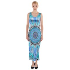 Sapphire Ice Flame, Light Bright Crystal Wheel Fitted Maxi Dress by DianeClancy