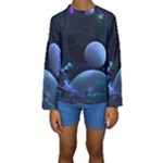 The Music Of My Goddess, Abstract Cyan Mystery Planet Kid s Long Sleeve Swimwear