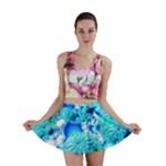 Blue Ice Crystals, Abstract Aqua Azure Cyan Mini Skirts