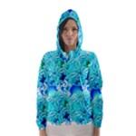 Blue Ice Crystals, Abstract Aqua Azure Cyan Hooded Wind Breaker (Women)