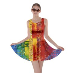 Conundrum I, Abstract Rainbow Woman Goddess  Skater Dress by DianeClancy