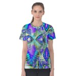 Abstract Peacock Celebration, Golden Violet Teal Women s Cotton Tee