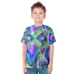 Abstract Peacock Celebration, Golden Violet Teal Kid s Cotton Tee