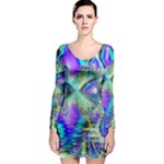 Abstract Peacock Celebration, Golden Violet Teal Long Sleeve Bodycon Dress