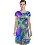 Abstract Peacock Celebration, Golden Violet Teal Cap Sleeve Nightdress