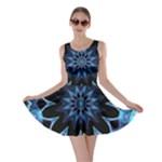 Crystal Star, Abstract Glowing Blue Mandala Skater Dress