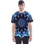 Crystal Star, Abstract Glowing Blue Mandala Men s Sport Mesh Tee
