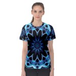 Crystal Star, Abstract Glowing Blue Mandala Women s Sport Mesh Tee
