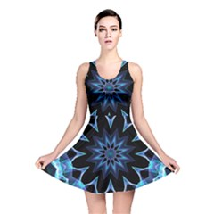 Crystal Star, Abstract Glowing Blue Mandala Reversible Skater Dress by DianeClancy