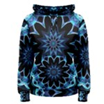 Crystal Star, Abstract Glowing Blue Mandala Women s Pullover Hoodie