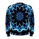 Crystal Star, Abstract Glowing Blue Mandala Men s Sweatshirt