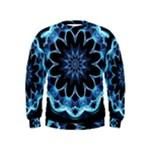 Crystal Star, Abstract Glowing Blue Mandala Kids  Sweatshirt