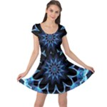 Crystal Star, Abstract Glowing Blue Mandala Cap Sleeve Dresses
