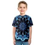 Crystal Star, Abstract Glowing Blue Mandala Kid s Sport Mesh Tee