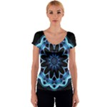 Crystal Star, Abstract Glowing Blue Mandala Women s V-Neck Cap Sleeve Top