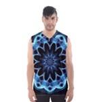 Crystal Star, Abstract Glowing Blue Mandala Men s Basketball Tank Top