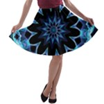Crystal Star, Abstract Glowing Blue Mandala A-line Skater Skirt