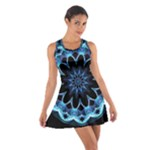 Crystal Star, Abstract Glowing Blue Mandala Racerback Dresses