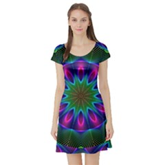 Star Of Leaves, Abstract Magenta Green Forest Short Sleeve Skater Dress
