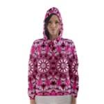 Twirling Pink, Abstract Candy Lace Jewels Mandala  Hooded Wind Breaker (Women)