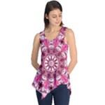 Twirling Pink, Abstract Candy Lace Jewels Mandala  Sleeveless Tunic