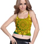 Yellow Green Abstract Wheel Of Fire Spaghetti Strap Bra Top