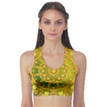 Yellow Green Abstract Wheel Of Fire Sports Bra