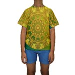 Yellow Green Abstract Wheel Of Fire Kid s Short Sleeve Swimwear
