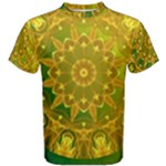 Yellow Green Abstract Wheel Of Fire Men s Cotton Tee