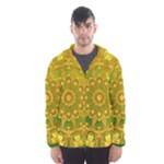 Yellow Green Abstract Wheel Of Fire Hooded Wind Breaker (Men)
