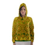 Yellow Green Abstract Wheel Of Fire Hooded Wind Breaker (Women)