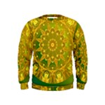 Yellow Green Abstract Wheel Of Fire Kids  Sweatshirt