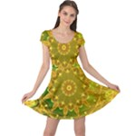 Yellow Green Abstract Wheel Of Fire Cap Sleeve Dresses
