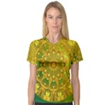 Yellow Green Abstract Wheel Of Fire Women s V-Neck Sport Mesh Tee
