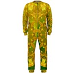 Yellow Green Abstract Wheel Of Fire OnePiece Jumpsuit (Men)