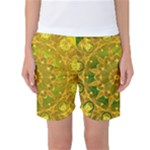 Yellow Green Abstract Wheel Of Fire Women s Basketball Shorts