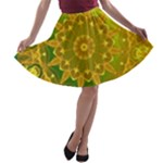 Yellow Green Abstract Wheel Of Fire A-line Skater Skirt