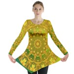 Yellow Green Abstract Wheel Of Fire Long Sleeve Tunic