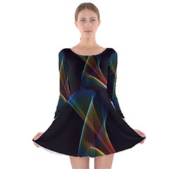 Abstract Rainbow Lily, Colorful Mystical Flower  Long Sleeve Velvet Skater Dress by DianeClancy