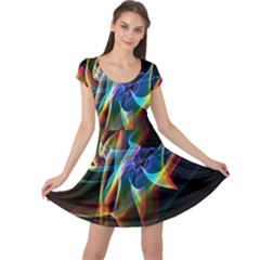 Aurora Ribbons, Abstract Rainbow Veils  Cap Sleeve Dresses by DianeClancy