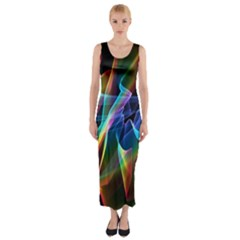 Aurora Ribbons, Abstract Rainbow Veils  Fitted Maxi Dress by DianeClancy
