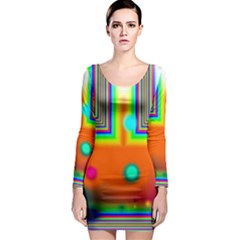Crossroads Of Awakening, Abstract Rainbow Doorway  Long Sleeve Bodycon Dress by DianeClancy