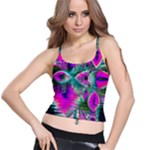 Crystal Flower Garden, Abstract Teal Violet Spaghetti Strap Bra Top