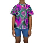 Crystal Flower Garden, Abstract Teal Violet Kid s Short Sleeve Swimwear