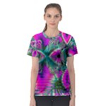 Crystal Flower Garden, Abstract Teal Violet Women s Sport Mesh Tee